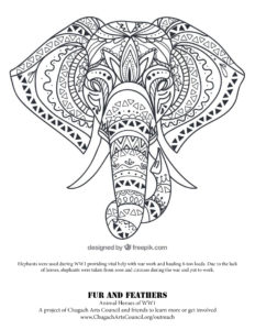 Elephant coloring page FnF